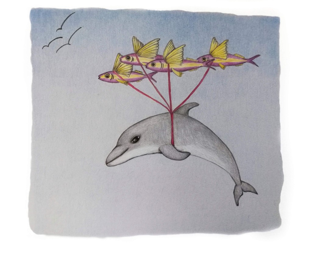 Delfin fliegt mit Hilfe der fliegenden Fische