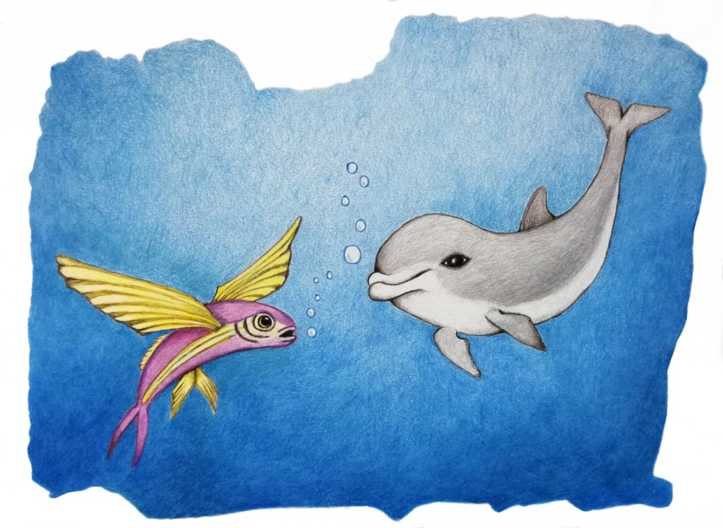Delfin trifft fliegenden Fisch